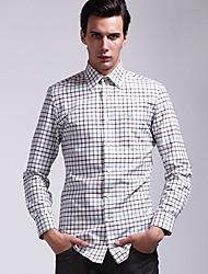 billige -Herre - Farveblok Ternet Plusstørrelser Skjorte