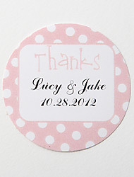 """preiswerte -personalisierte Runde Bevorzugungsaufkleber - pink """"Danke"""" (Satz 36)"""