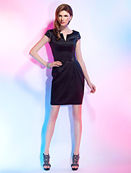 Sheath / Column Notched Short / Mini Satin Cocktail Party Dress with Beading Crystal Detailing Side Draping by TS Couture®