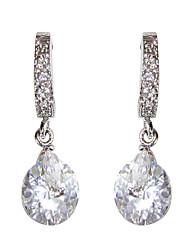 economico -elegante bianco platino placcato con forma irregolare orecchini cubic zirconia