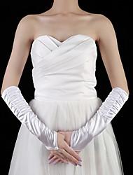 satin albue længde handske brude handsker med plisseret elegant stil