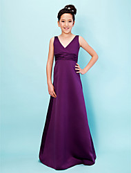 cheap -A-Line Princess V Neck Floor Length Satin Junior Bridesmaid Dress with Sash / Ribbon Ruched by LAN TING BRIDE®