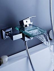 abordables -contemporaine cascade chrome robinet de baignoire avec bec en verre (support mural)