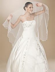 Uma Camada Borda Recortada Corte Pérola Véus de Noiva Véu Capela Com Pérolas 86,61 cm (220 centímetros) Tule Linha-A, Vestido de Baile,