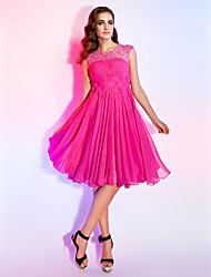 A-linje Prinsesse Høj halset Knælang Chiffon Bal Kjole med Perlearbejde Drapering Blonde ved TS Couture®