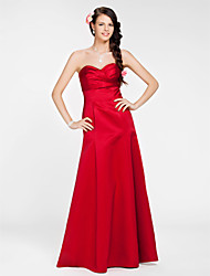 A-Line Princess Strapless Sweetheart Floor Length Satin Bridesmaid Dress with Sash / Ribbon Criss Cross by LAN TING BRIDE®