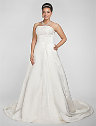 cheap -A-Line / Princess Strapless Chapel Train Satin Made-To-Measure Wedding Dresses with Beading / Appliques by LAN TING BRIDE® / Sparkle & Shine