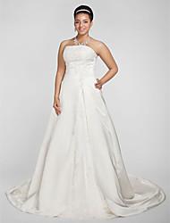 baratos -Linha A Princesa Sem Alças Cauda Capela Cetim Vestidos de noiva personalizados com Miçangas Apliques de LAN TING BRIDE®