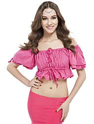 cheap -Belly Dance Tops Women's Training Linen Ruffles Short Sleeve Top