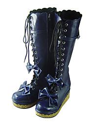 cheap -Lolita Shoes Sweet Lolita Handmade Platform Shoes Bowknot 7 CM Blue For Women PU Leather/Polyurethane Leather