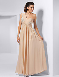 Sheath / Column One Shoulder Floor Length Chiffon Formal Evening Military Ball Dress with Beading Draping Lace Criss Cross by TS Couture®