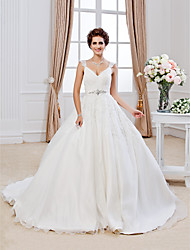 cheap -Ball Gown V-neck Chapel Train Organza Wedding Dress with Beading Appliques by LAN TING BRIDE®