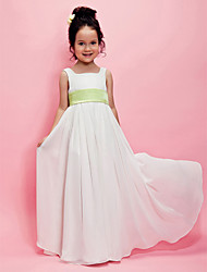 cheap -A-Line / Princess Floor Length Flower Girl Dress - Chiffon Sleeveless Square Neck with Draping / Sash / Ribbon by LAN TING BRIDE® / Spring / Summer / Fall / Wedding Party