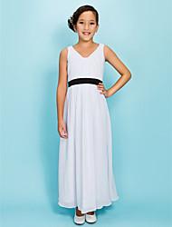 abordables -Robe de Demoiselle d'Honneur Junior - Blanc Fourreau Col en V Longueur cheville Mousseline polyester