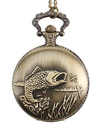 baratos -Homens Relógio de Bolso Quartzo Lega Banda Analógico Vintage Bronze - Dourado