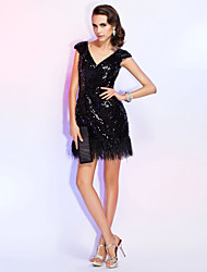 Sheath / Column V-neck Short / Mini Sequined Cocktail Party Homecoming Holiday Wedding Party Dress with Feathers / Fur Sequins by TS