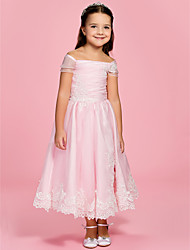 A-Line Ankle Length Flower Girl Dress - Organza Short Sleeves Bateau Neck Off-the-shoulder by LAN TING BRIDE®
