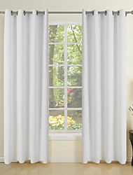 cheap -(One Pair) Pure Solid Off White Canvas Eco-friendly Curtain