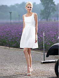 cheap -A-Line Scoop Neck Short / Mini Taffeta Custom Wedding Dresses with Draping Sash / Ribbon by LAN TING BRIDE®