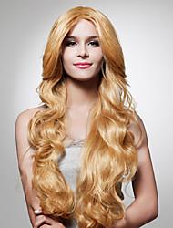 Capless Long Light Golden Brown Curly Hair Wig