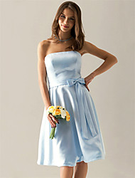 A-Line Strapless Knee Length Satin Bridesmaid Dress with Bow(s) Sash / Ribbon by LAN TING BRIDE®