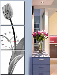 cheap -E-Home 3Pcs Contemporary Style Botanical  Canvas Wall Clock Home Decorations