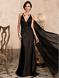 cheap -Sheath / Column Halter V-neck Brush Train Chiffon Evening Dress by TS Couture®