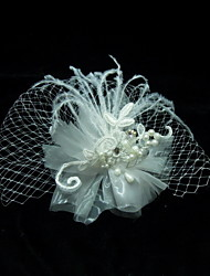 cheap -Crystal Feather Fabric Tiaras Birdcage Veils 1 Wedding Special Occasion Party / Evening Headpiece