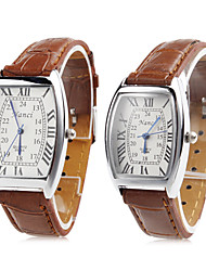 cheap -Pair of Unisex PU Analog Quartz Wrist Watch (Brown) Cool Watches Unique Watches Fashion Watch Strap Watch