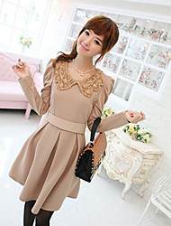Women's Going out Cute Skater Dress,Solid Peter Pan Collar Above Knee Long Sleeve Beige All Seasons