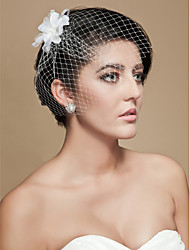 cheap -Wedding Veil One-tier Blusher Veils Birdcage Veils Cut Edge Tulle