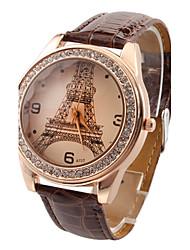 Недорогие -Жен. Модные часы Кварцевый Имитация Алмазный PU Группа На каждый день Эйфелева башня Черный Белый Красный Коричневый Роуз
