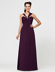 Sheath / Column Sweetheart Straps Floor Length Chiffon Bridesmaid Dress with Crystal Brooch Pleats by LAN TING BRIDE®