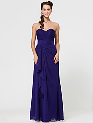 cheap -Sheath / Column Strapless Spaghetti Straps Sweetheart Floor Length Chiffon Bridesmaid Dress with Criss Cross by LAN TING BRIDE®