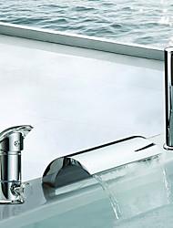 abordables -Robinet de baignoire - Moderne Chrome Baignoire romaine Soupape céramique