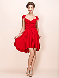 cheap -Sheath / Column V-neck Knee Length Jersey Cocktail Party Wedding Party Dress with Sash / Ribbon Pleats by TS Couture®