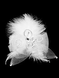 economico -copricapo di fascinator di piume di tulle elegante stile femminile classico