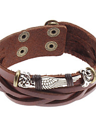 cheap -Men's Charm Bracelet Leather Bracelet Unique Design Costume Jewelry Fashion Leather Alloy Jewelry Wings / Feather Jewelry For Sports