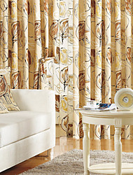 Kousering Top To paneler Vindue Behandling Land , Print 100% Linned Linned Materiale Gardiner forhæng Hjem Dekoration