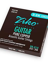 Недорогие -ZIKO - (DR010) Чистая медь акустической гитары Струны (010-048)