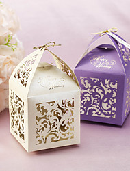 cheap -Floral Cut-out Favor Boxes With Tag - Set of 12 (More Colors)