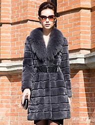 Недорогие -Фантастические с длинным рукавом Fox Fur воротником кролика рекс Другое / Партия Coat (другие цвета)