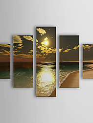 cheap -Hand-painted Oil Painting Landscape Oversized Landscape Set of 5