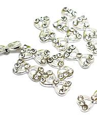 billige -5PCS 3D Half Cover Metal Nail Decorations Diamond Bowknot
