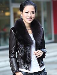 billige -Langærmet Fox Fur sjalskrave lammeskind læder med mink Fur Casual / Office Jacket (Flere farver)