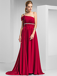cheap -Sheath / Column One Shoulder Sweep / Brush Train Chiffon Prom / Formal Evening Dress with Beading Ruched by TS Couture®