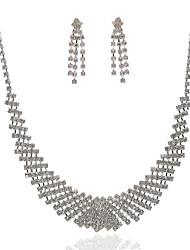 povoljno -prekrasna češki dijamanata legure presvučenog svadbeni nakit set, uključujući i ogrlice i naušnice