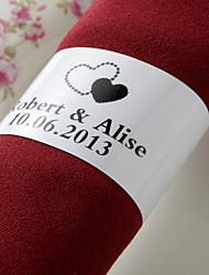 anneau de serviette en papier personnalisé - coeurs noirs (lot de 50)