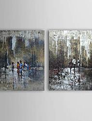 baratos -Pintados à mão Paisagem Horizontal Tela de pintura Pintura a Óleo Decoração para casa 2 Painéis