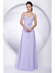 A-Line Spaghetti Straps Floor Length Chiffon Bridesmaid Dress with Bow(s) Sash / Ribbon by LAN TING BRIDE®
